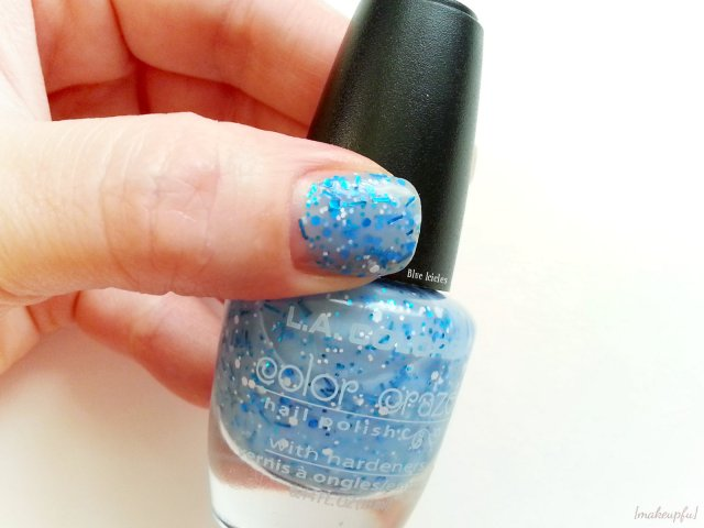 Swatches of the L.A. Colors Color Craze Glitter Polish in Blue Icicles