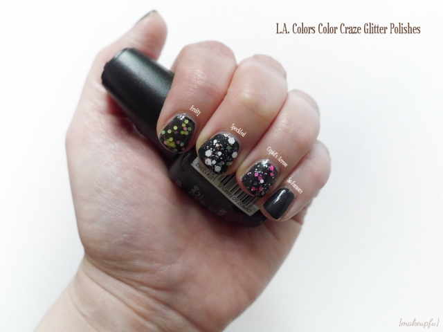 Swatches of the L.A. Colors Color Craze Glitter Polish in Fruity, Speckled, and Cupid's Arrow over So Famous