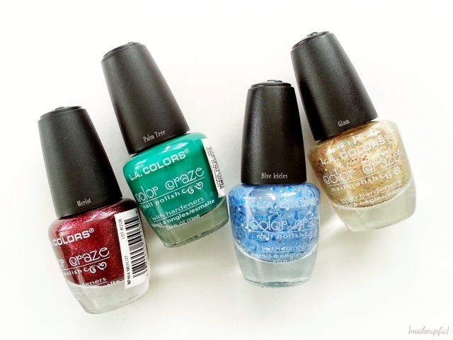 L.A. Colors Color Craze Glitter Polish in Merlot, Palm Tree, Blue Icicles, and Glam