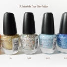L.A. Colors Color Craze Glitter Polish in Fruity, Glam, Speckled, Spring Flirt, and Blue Icicles
