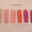 Swatches of the L.A. Girl Glazed Lip Paints in Whisper, Elude, Peony, Tango, Blushing, and Pin-Up