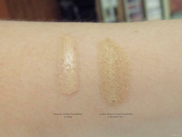 Swatches of benecos Creamy Foundation in Nude and Lavera Natural Liquid Foundation in Porcelain No. 1