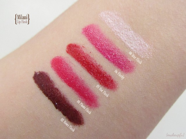 Swatches of Milani Lip Flash Full Coverage Shimmer Gloss Pencil: 02 News Flash, 04 Photo Flash, 05 Hot Flash, 06 Flashy, 08 Star Flash