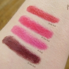 Swatches of Milani Lip Flash Full Coverage Shimmer Gloss Pencil: 02 News Flash, 04 Photo Flash, 05 Hot Flash, 06 Flashy