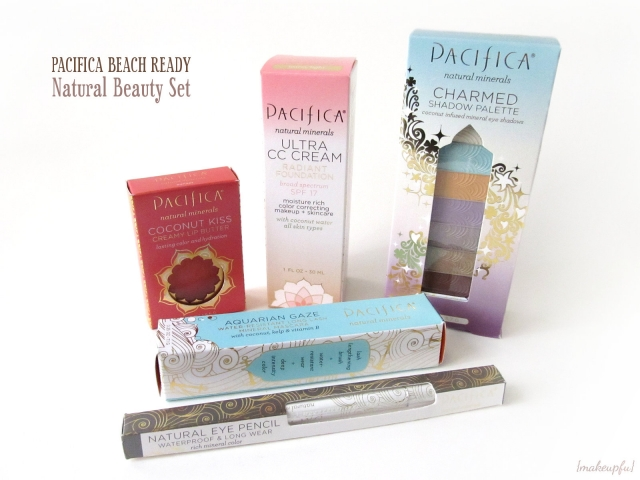 Pacifica Beach Ready Natural Beauty Set: Charmed Eyeshadow Palette, Ultra CC Cream in Warm/Light, Coconut Kiss Creamy Lip Butter in Sunset, Aquarian Gaze Mineral Mascara in Abyss, and Natural Eye Pencil in Gun Metal
