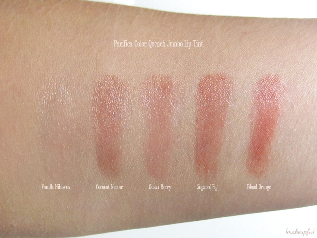 Swatches of the Pacifica Color Quench Jumbo Lip Tints: Vanilla Hibiscus, Coconut Nectar, Guava Berry,  Sugared Fig, and Blood Orange