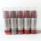 Pacifica Color Quench Jumbo Lip Tints: Vanilla Hibiscus, Coconut Nectar, Guava Berry, Blood Orange, and Sugared Fig