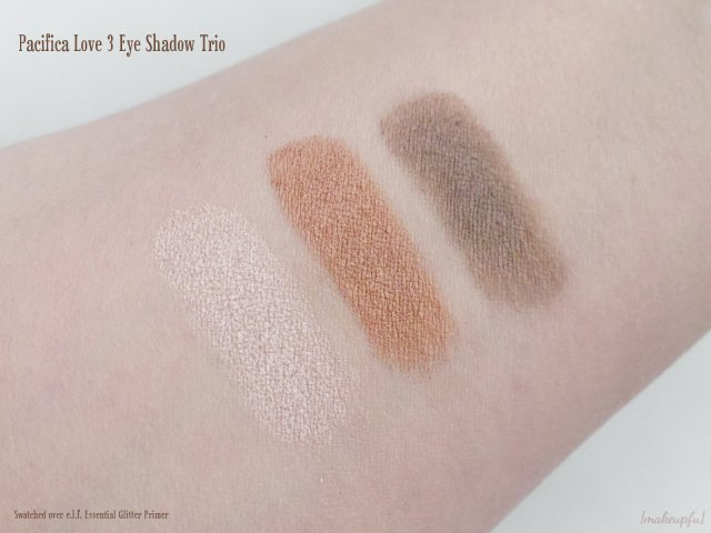 Swatches of the Pacifica Love 3 Eye Shadow Trio