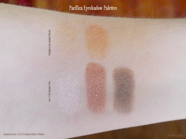 Swatch comparison of the Pacifica Love 3 Eye Shadow Trio and Enlighten Eyeshadow Palette, swatched over the e.l.f. Essential Glitter Primer