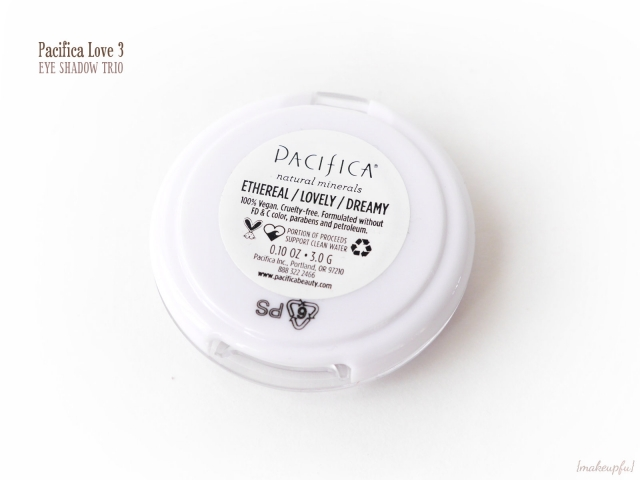 Reverse of the Pacifica Love 3 Eye Shadow Trio