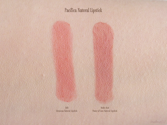 Swatches of Pacifica Devocean Natural Lipstick in XOX and Power of Love Natural Lipstick in Nudie Red