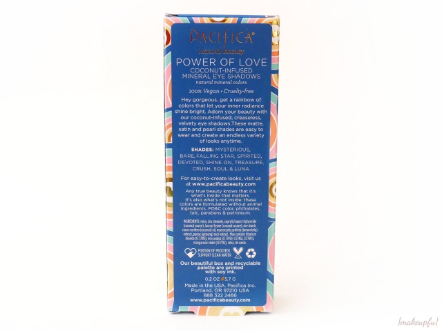 Reverse of the Pacifica Power of Love Eyeshadow Palette box packaging.