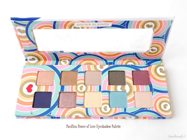 View of the Pacifica Power of Love Eyeshadow Palette opened