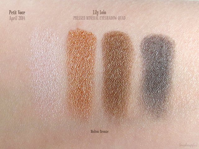 Petit Vour April 2014: Swatches of Lily Lolo Pressed Mineral Eye Shadow Quad in Molten Bronze