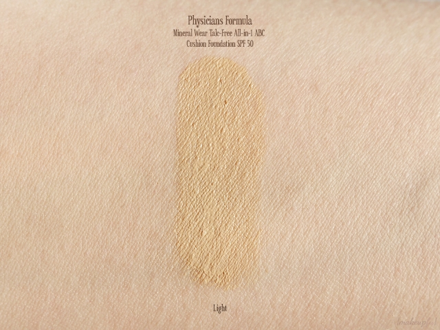Swatch of the Physicians Formula Mineral Wear Talc-Free All-in-1 ABC Cushion Foundation SPF 50 in the shade Light