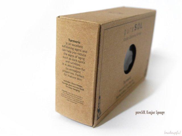 Side view of the pureSOL Konjac Sponge box packaging