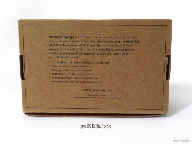 Back view of the pureSOL Konjac Sponge box packaging