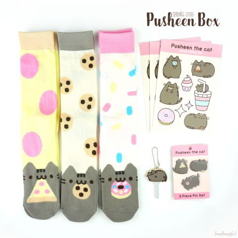 Pusheen Box Spring 2016: Knee high socks set, sticker sheets (3), key cover, and 3-piece pin set.