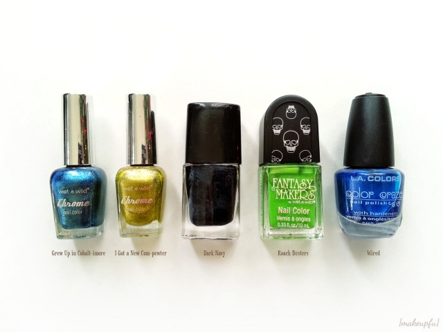 Seahawks inspired nail polish ideas: Wet n Wild Chrome Nail Color in Grew Up in Cobalt-imore & I Got a New Com-pewter, e.l.f. Nail Polish in Dark Navy, Wet n Wild Fantasy Makers Nail Color in Roach Busters, and L.A. Colors Color Craze Nail Polish in Wired.