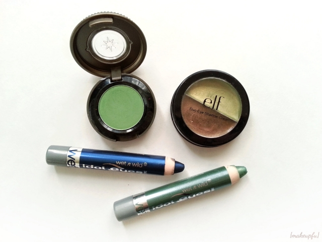 Seahawks inspired eyeshadow ideas: Wet n Wild Idol Eyes Creme Shadow Pencil in Distress & Envy, Urban Decay Chronic (Vintage), and e.l.f. Duo Eye Shadow Cream in Olive.