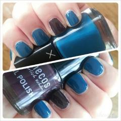 LVX Nail Lacquer in Prussian and benecos Nail Polish in Deep Plum