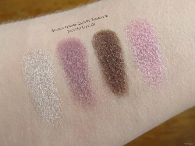 Swatches of the benecos Natural Quattro Eyeshadow in Beautiful Eyes 001