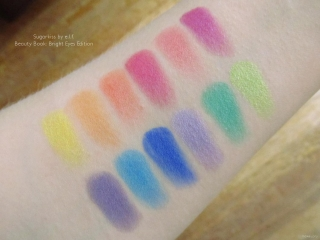 Swatches of Sugarkiss by e.l.f. Beauty Book: Bright Eyes Edition