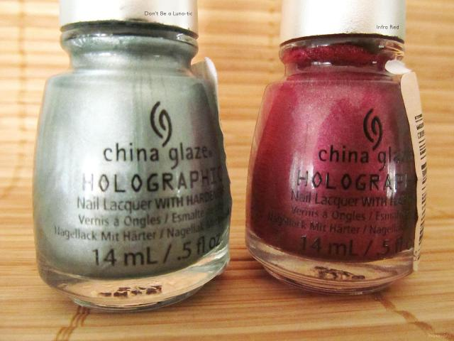 China Glaze Holographic Polish in Don't Be a Luna-tic and Infra Red