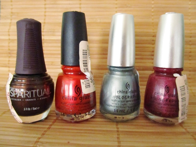 SpaRitual in Native Soil, China Glaze (Xtreme Thrash), and China Glaze Holographic (Don't Be a Luna-tic and Infra Red)