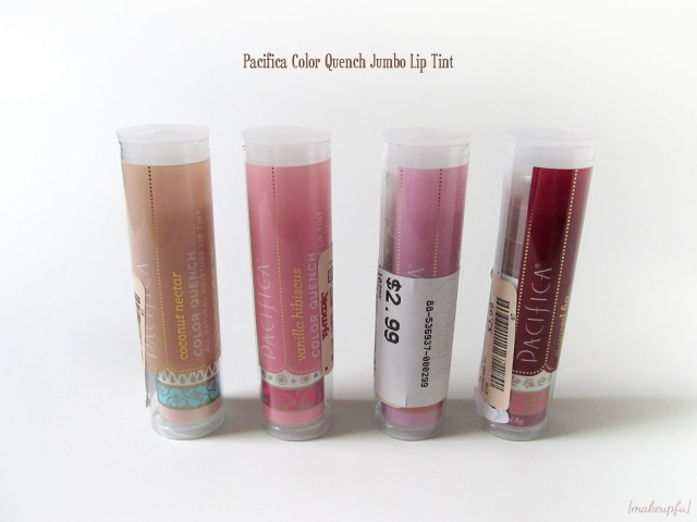 Pacifica Color Quench Jumbo Lip Tints: Coconut Nectar, Vanilla Hibiscus, Guava Berry, and Sugared Fig