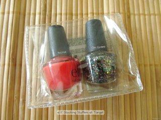 e.l.f. Mini Nail Polish Duo in Red Hot and Chic Confetti