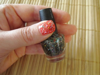 e.l.f. Nail Polish swatch in Chic Confetti over Red Hot