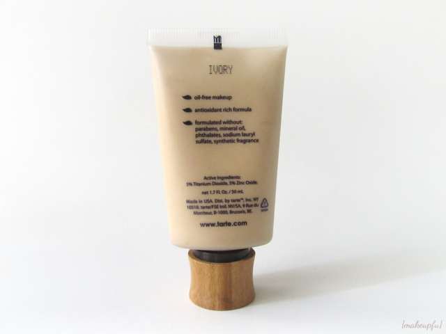 Reverse of tarte Amazonian Clay BB Tinted Moisturizer tube