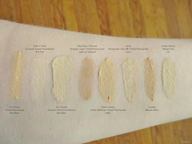 Swatches of tarte Amazonian Clay BB Tinted Moisturizer