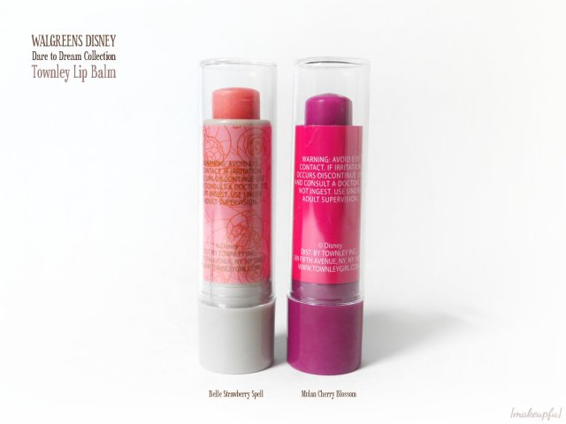 Reverse of the Townley Disney Princess Lip Balm: Belle Collection Strawberry Spell and Mulan Dare to Dream Collection Cherry Blossom