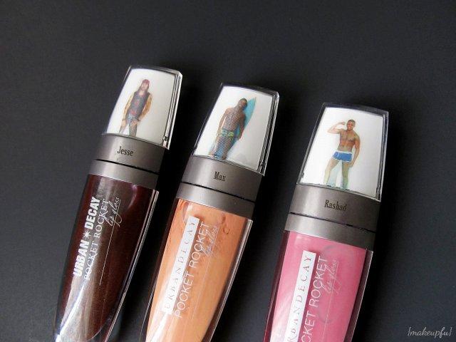 Urban Decay Pocket Rocket Lip Glosses in Jesse, Max, and Rashad
