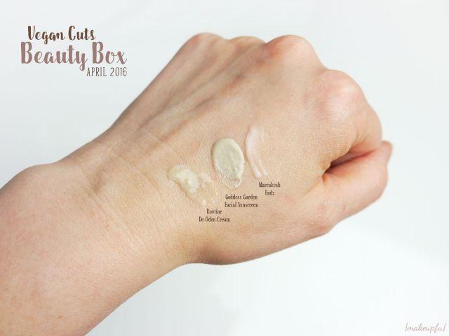 Vegan Cuts Beauty Box April 2016: Comparison of Routine De-odor-cream in Lucy in the Sky, Goddess Garden Facial Sunscreen and Marrakesh Endz