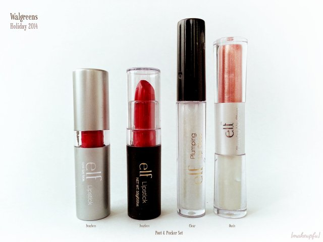 e.l.f. Pout & Pucker Lip Set vs e.l.f. Essential Lipstick in Fearless and Essential Plumping Lip Glaze in Oasis