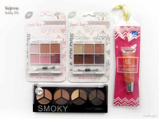 L.A. colors 6 Color Eyeshadow Palettes, Profusion Smoky Palette, and e.l.f. Essential Super Glossy Lip Shine in Tropical Breeze | Walgreens Holiday 2014