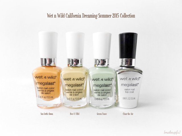 Wet n Wild California Dreaming Summer 2015 Collection: MegaLast Polish in Sun Settle Down, Bee-U-Tiful, Green Tease, and Clear the Air