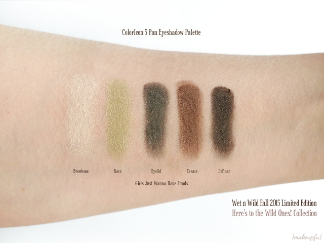 Swatches of the Wet n Wild ColorIcon Limited Edition Here's to the Wild Ones! Fall 2015 Collection in 34668 Girls Just Wanna Have Funds