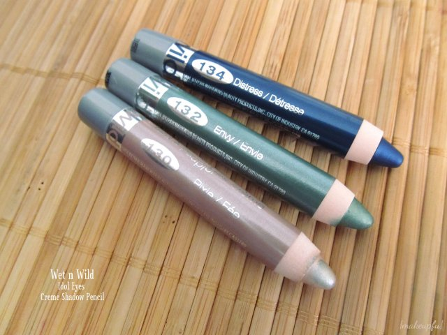 Wet n Wild Idol Eyes Creme Shadow Pencil: 130 Pixie, 132 Envy, and 134 Distress