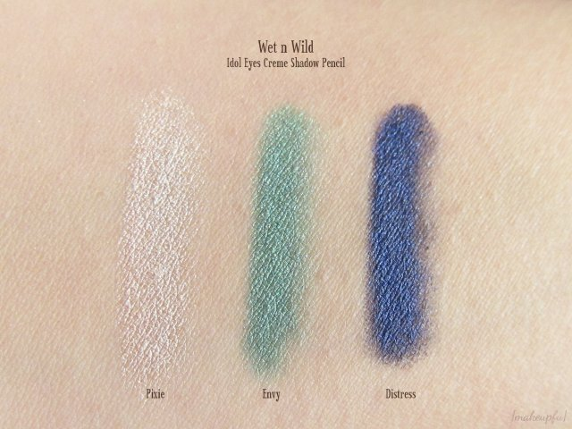 Swatches of Wet n Wild Idol Eyes Creme Shadow Pencil: 130 Pixie, 132 Envy, and 134 Distress