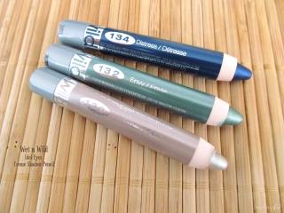 Wet n Wild Idol Eyes Creme Shadow Pencil: 130 Pixie, 132 Envy, and 134 Distress