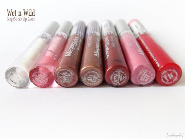 Wet n Wild MegaSlicks Lip Gloss: 561A Crystal Clear, 560A Sweet Glaze, 568 Bronze Berry, 576A Rose Gold, 577A Red Sensation, 578 Sinless, and 34480 Bloody Good