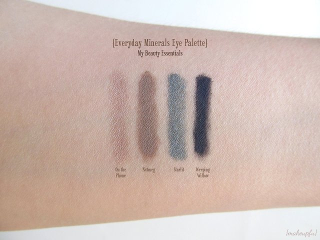 Swatches of the Everyday Minerals Eye Palette in My Beauty Essentials. From left to right: On the Phone (s), Nutmeg (m), Starlit (s), and Weeping Willow (m/p)
