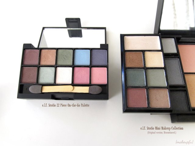 Comparison of the e.l.f. Studio 22 Piece On-the-Go Palette: Eyes with the original e.l.f. Studio Mini Makeup Collection