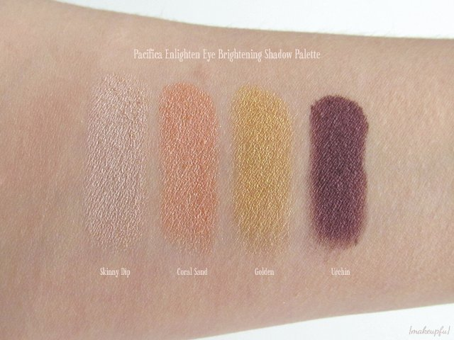 Swatches of the Pacifica Enlighten Eye Brightening Shadow Palette: Skinny Dip, Coral Sand, Golden, and Urchin