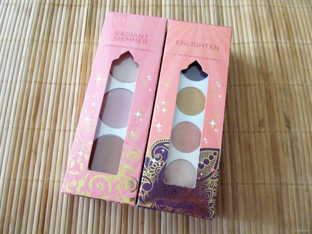 Packaging for Pacifica Radiant Shimmer Coconut Multiples and Enlighten Eye Brightening Shadow Palette