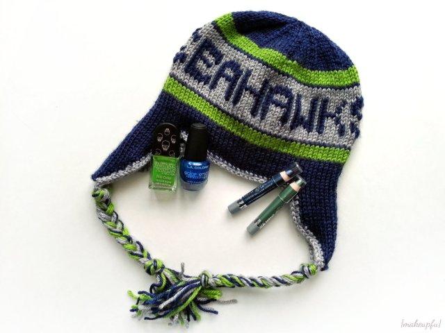 Hand-knit Seattle Seahawks hat.